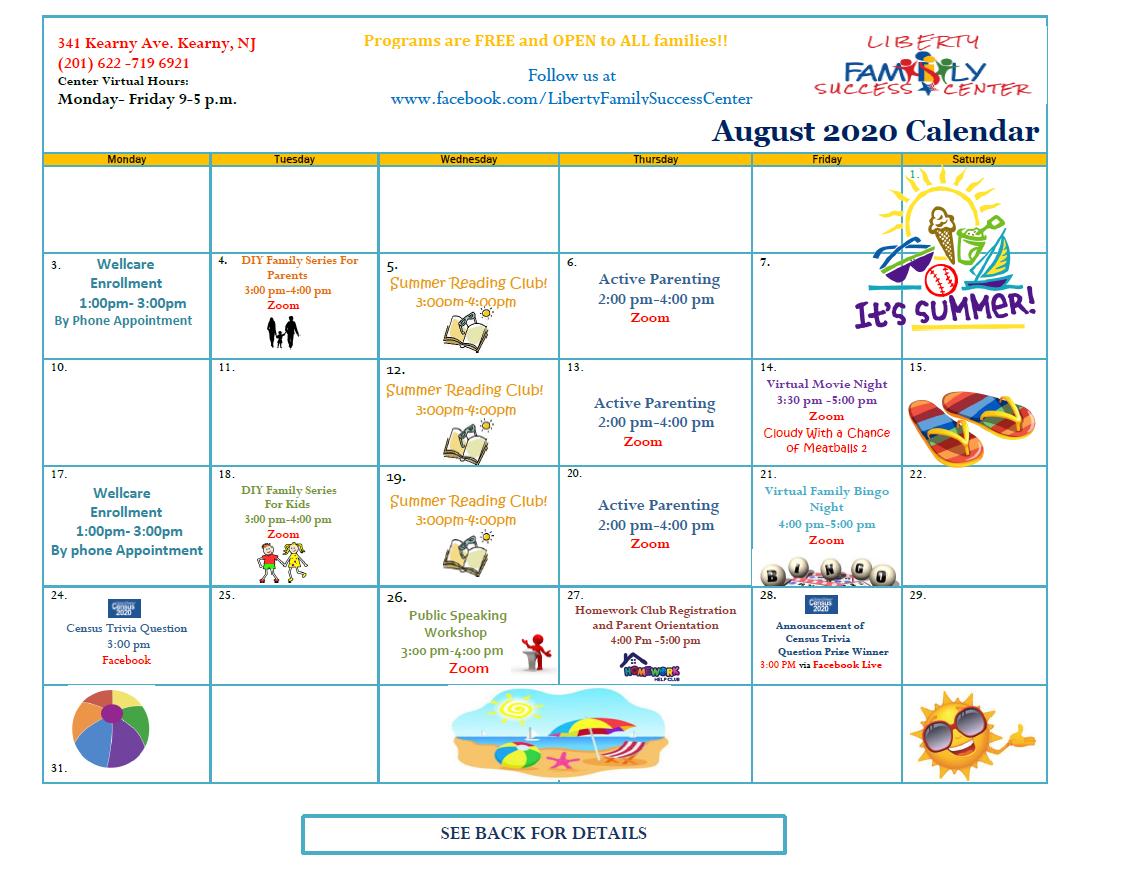 August 2020 Liberty FSC Calendar