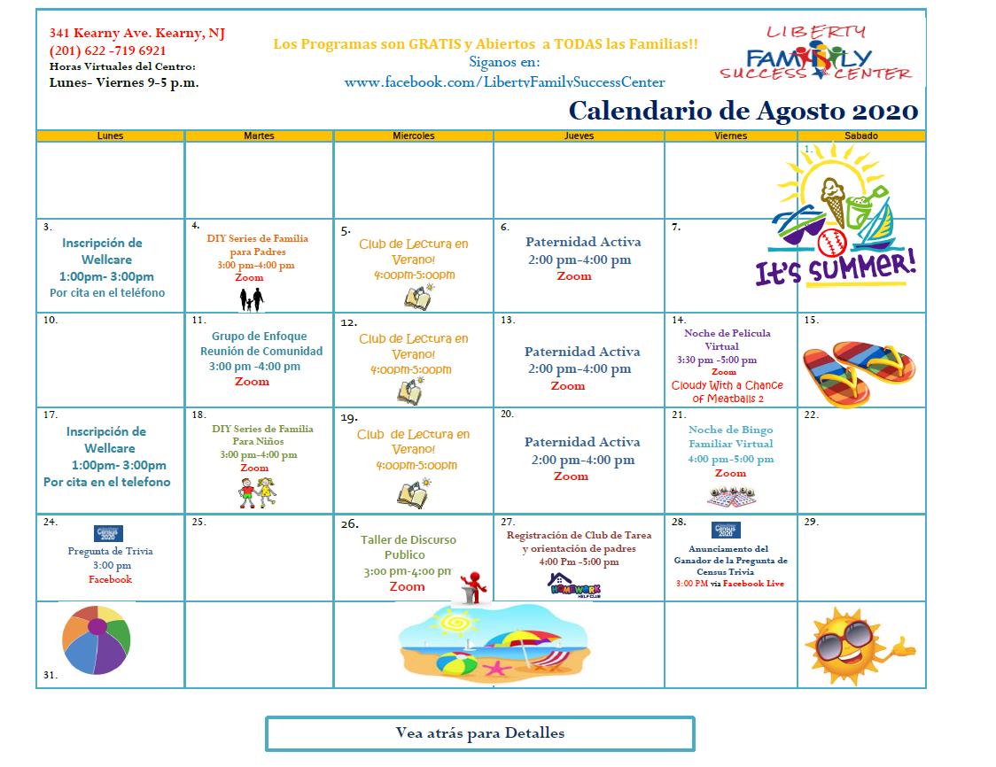 August 2020 Liberty FSC Calendar Spanish