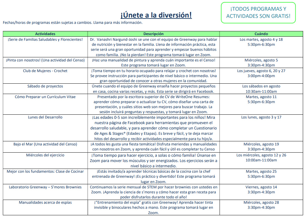August 2020 Greenway Calendar Back Spanish