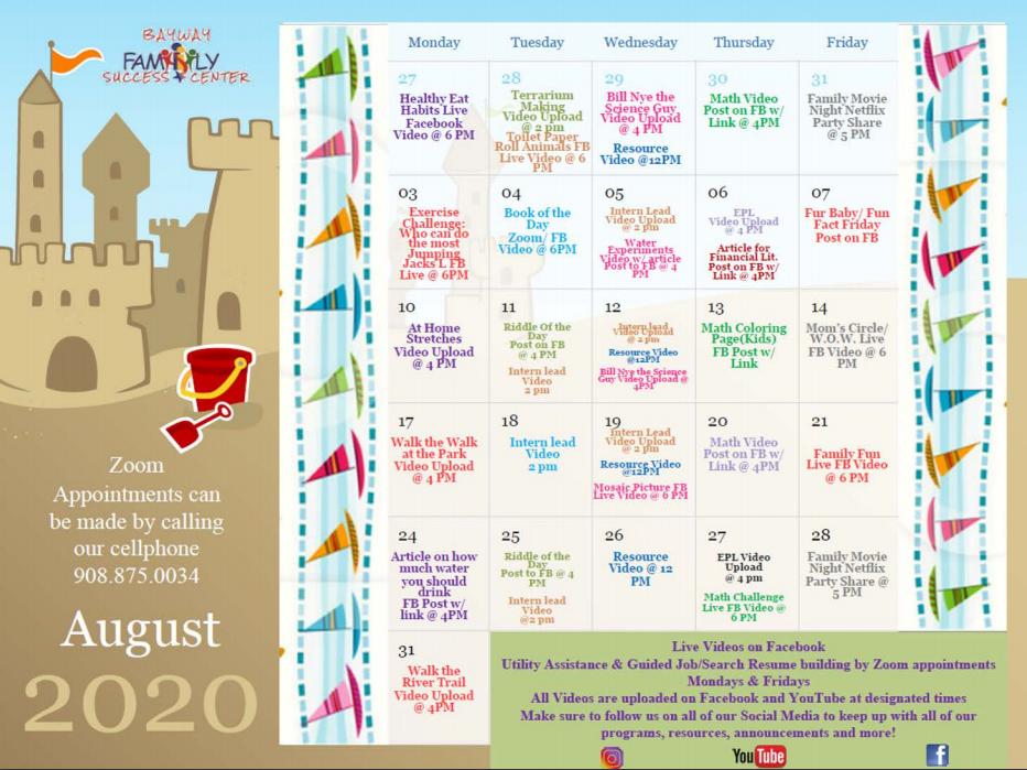 Bayway August Calendar