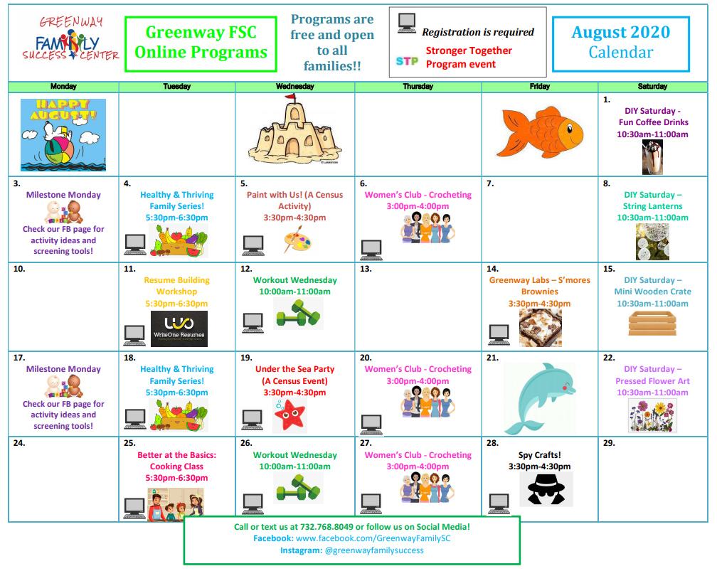 Greenway August 2020 Calendar