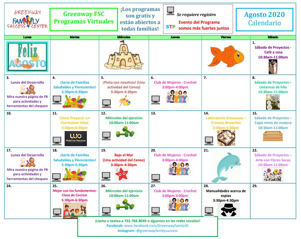 Greenway Spanish Calendar August 2020