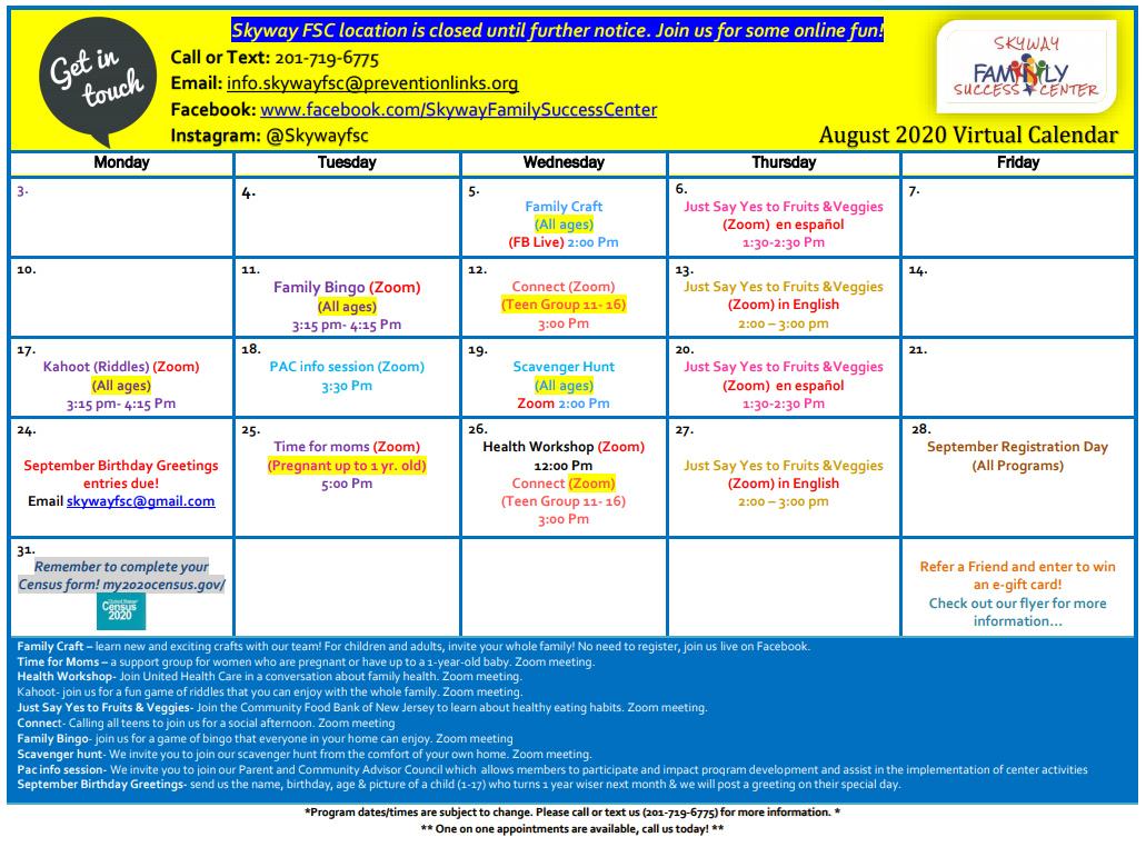 Skyway August 2020 Calendar