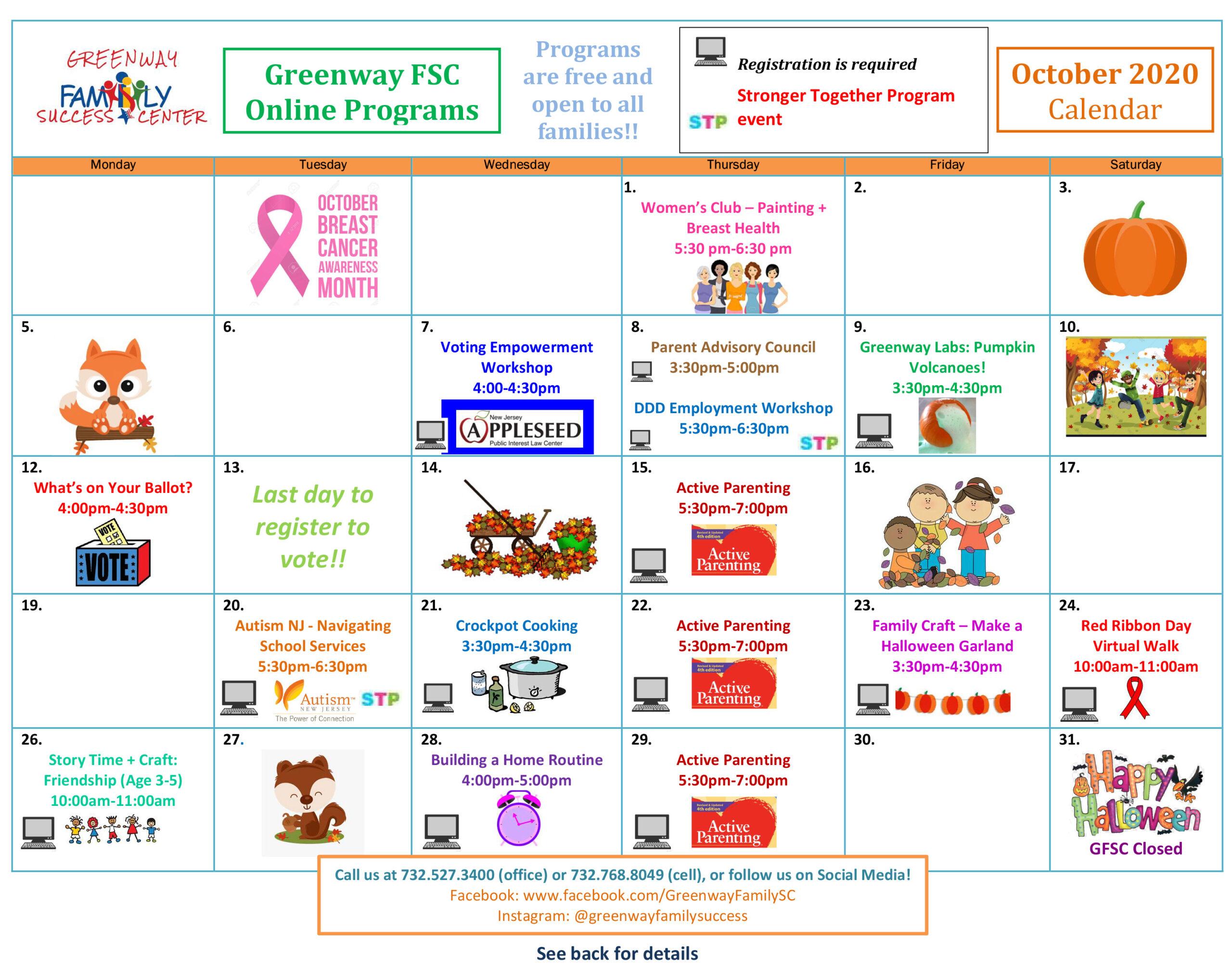 Greenway Monthly Calendar October 2020