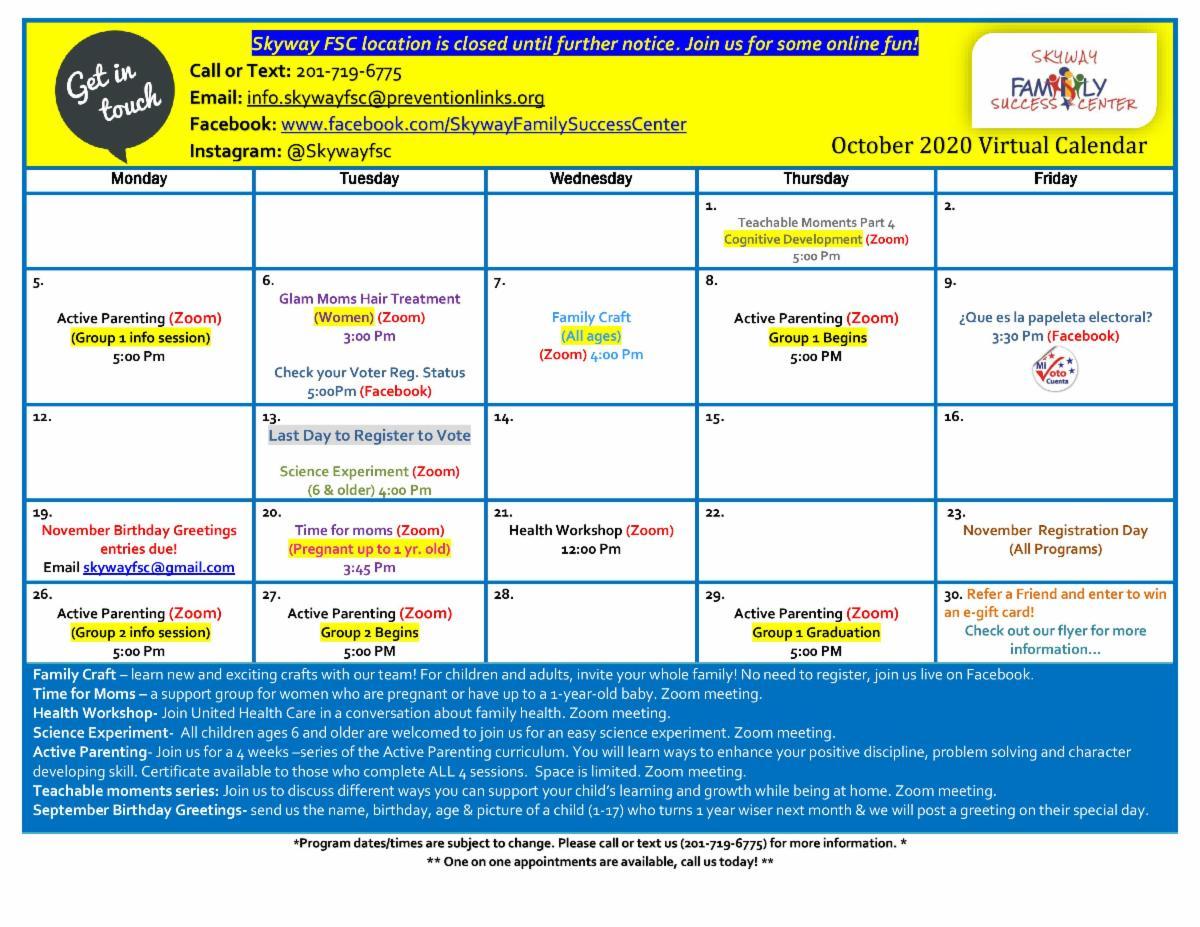 Skyway October Calendar