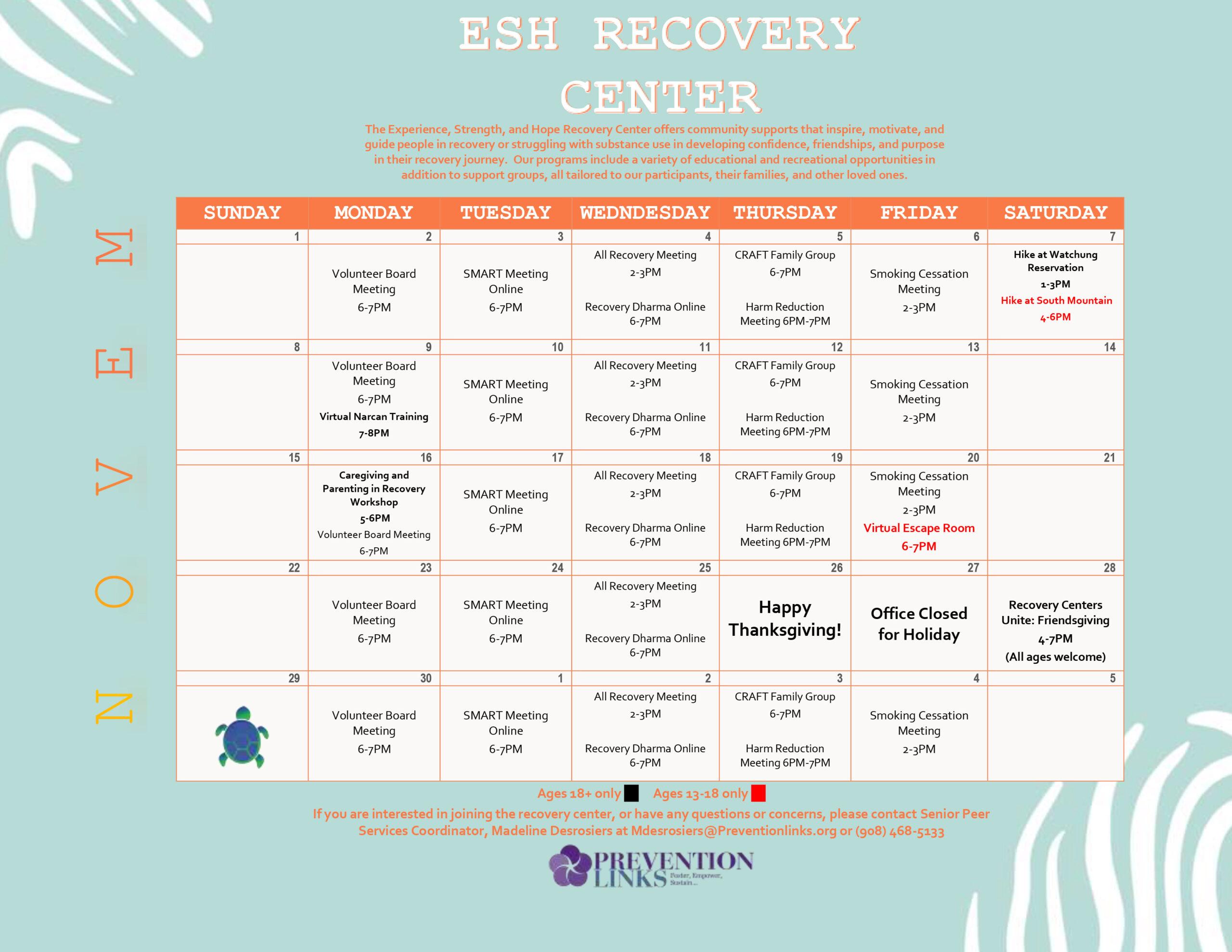 ESH Recovery Center Calendar November 2020