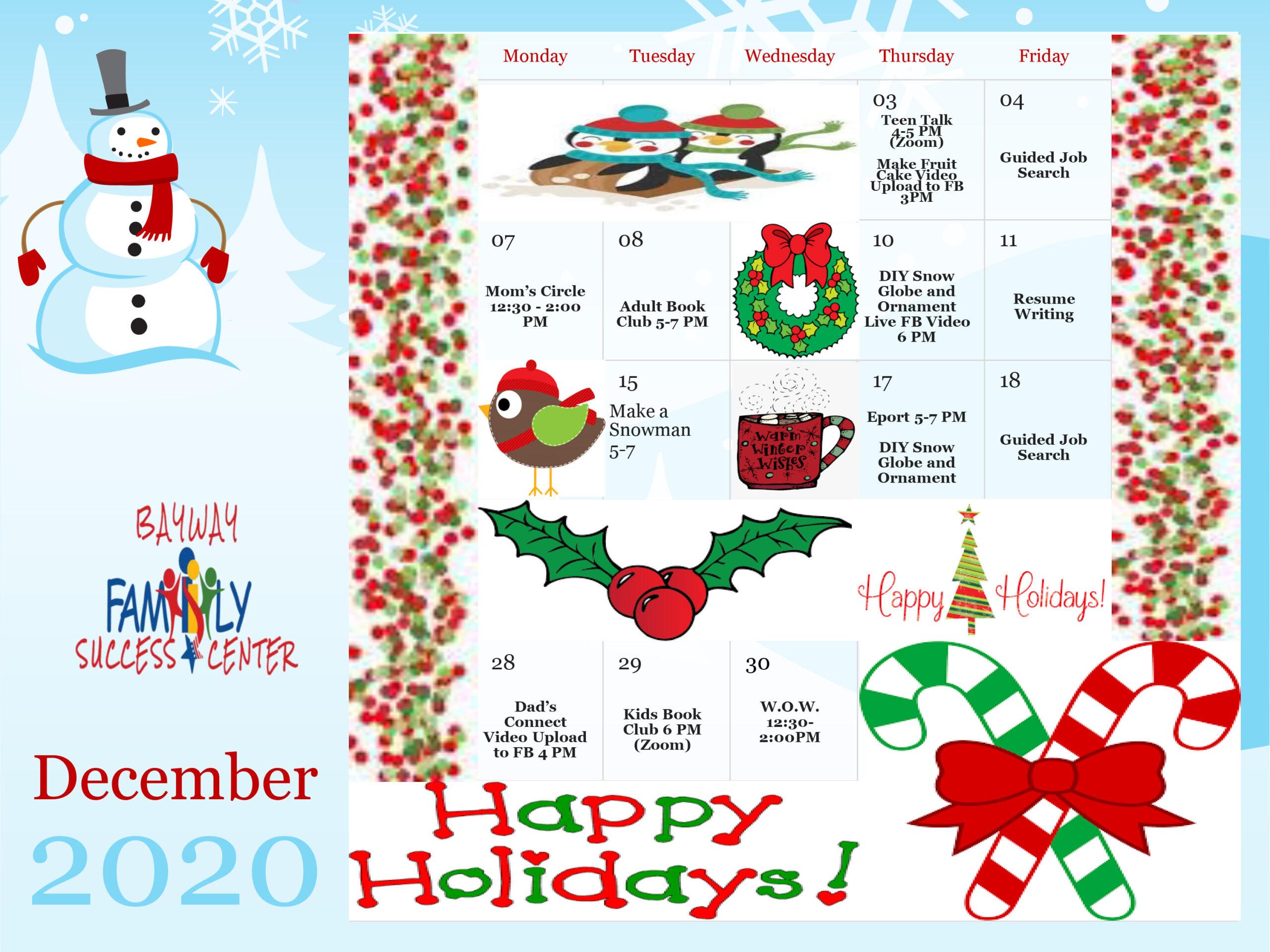 Bayway Family Success Center Calendar December 2020