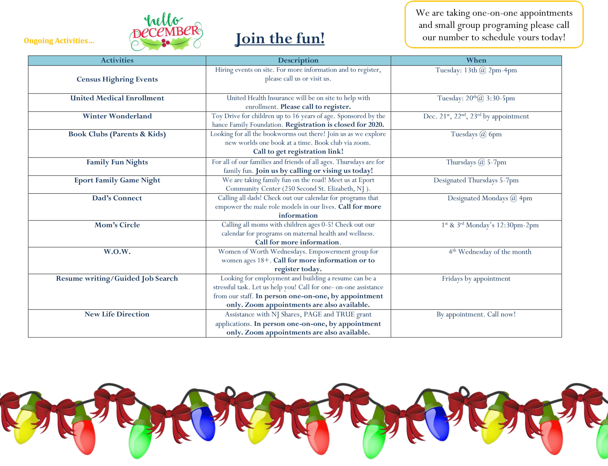 Bayway Family Success Center Calendar December 2020 2