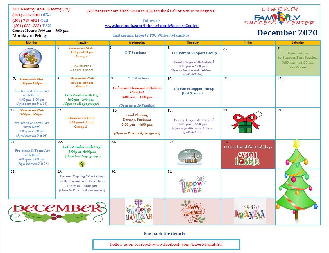 Liberty Family Success Center Calendar December 2020