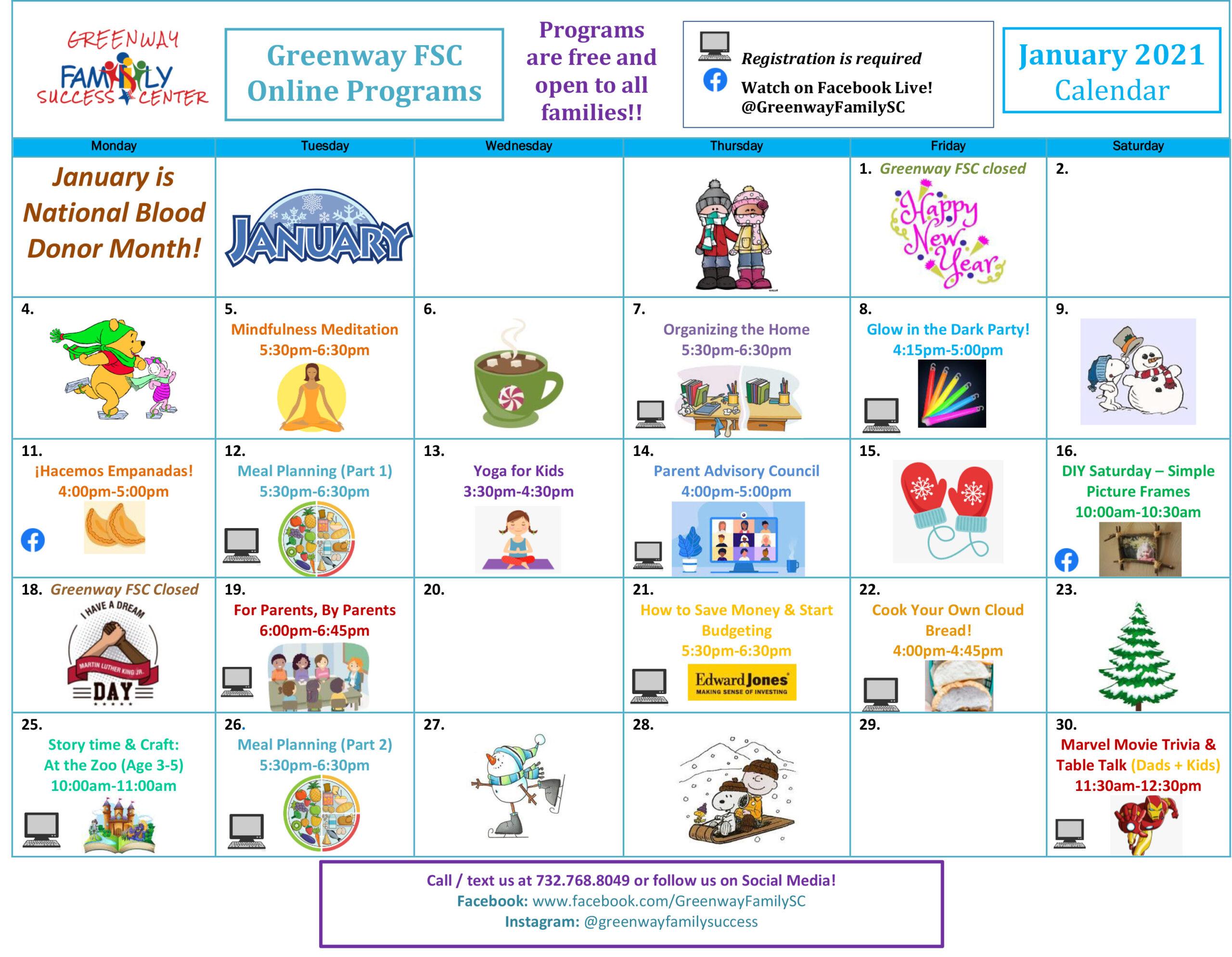Greenway Family Success Center Camendar January 2021