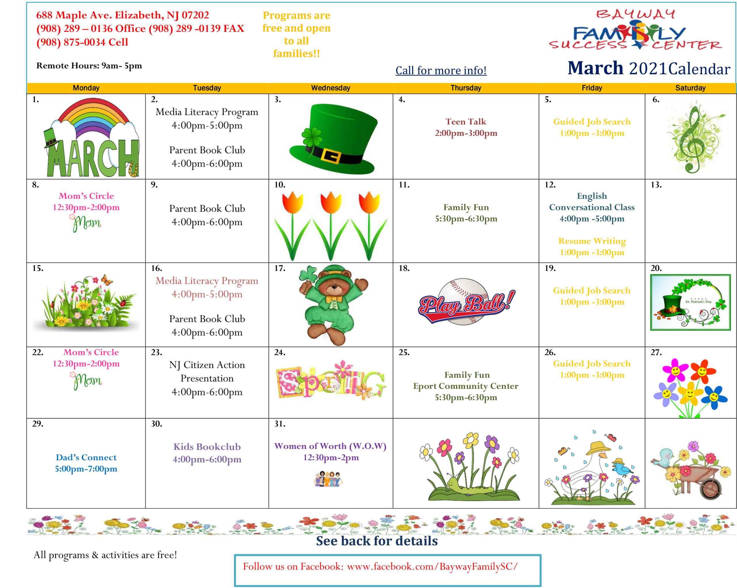 Bayway FSC March 2021 Calendar 1