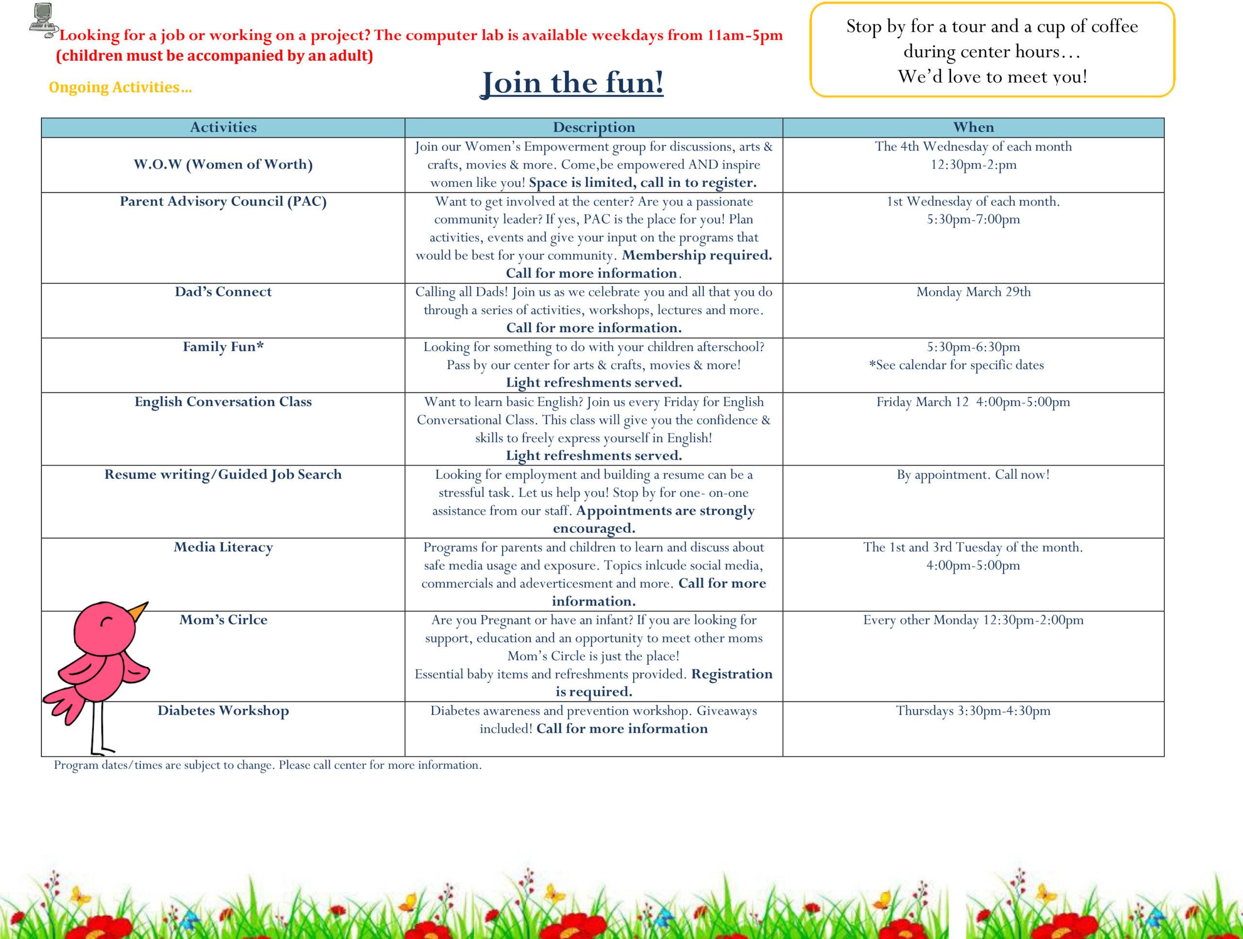 Bayway FSC March 2021 Calendar 2