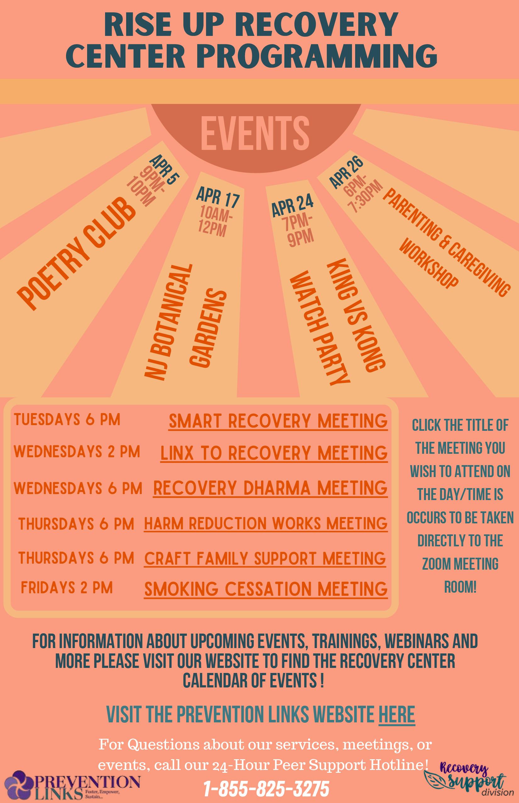 Rise Up Recovery Center Calendar April 2021