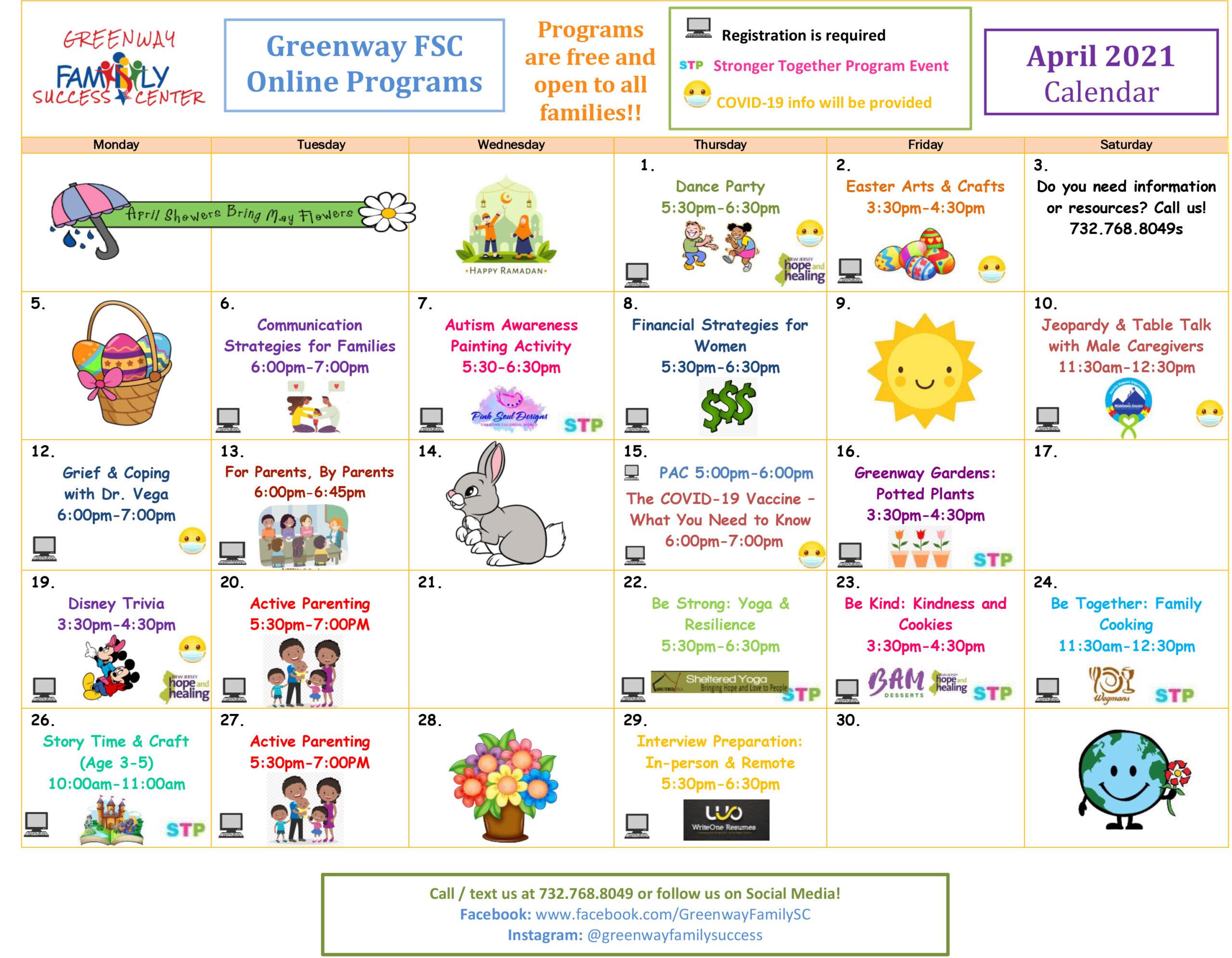 Greenway FSC Calendar April 2021