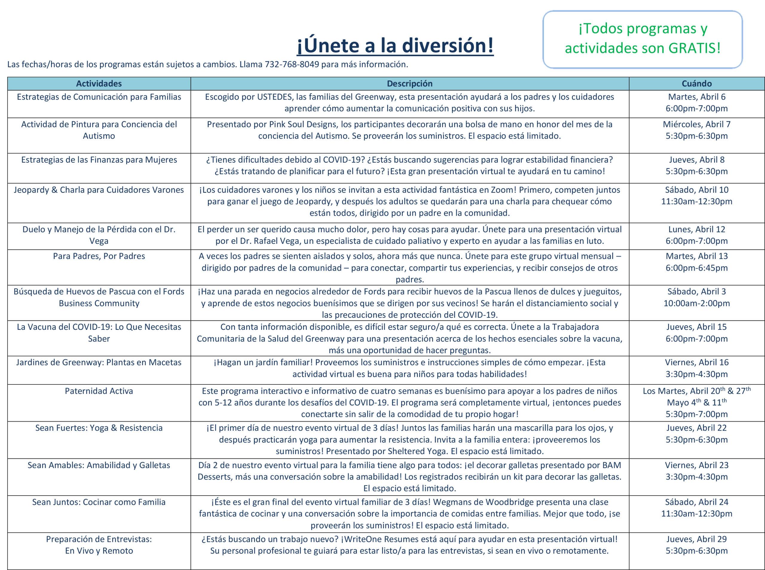 Greenway FSC Calendar April 2021 Spanish 2