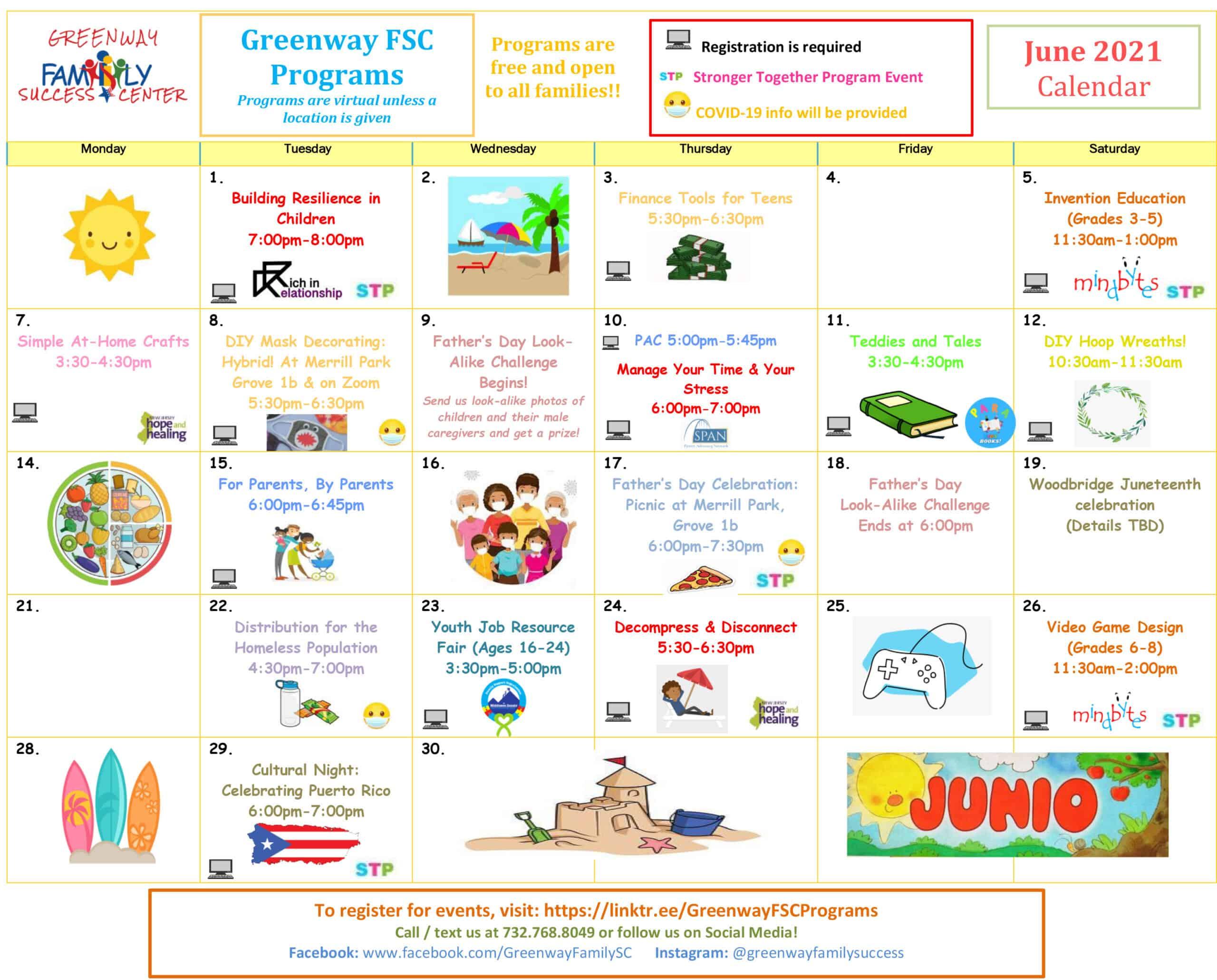 Greenway FSC June 2021 Calendar