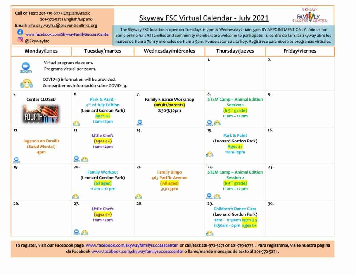 Skyway FSC July 2021 Calendar